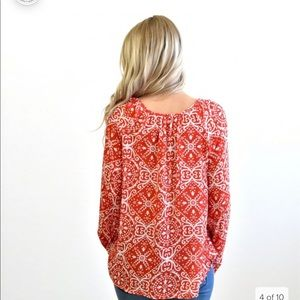 Red/coral long sleeve blouse